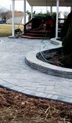 Circular Paver Walkway and Garden Wall