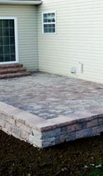 Paver patio with Seating wall, Columns and Steps