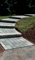 Paver walkway with step landings