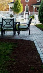 Simple Paver walkway with small seating area