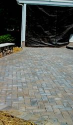 Paver Patio with Stone Seating wall