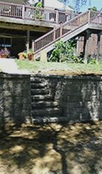 Staircase and retaining wall