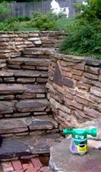 Flagstone and fieldstone mason step