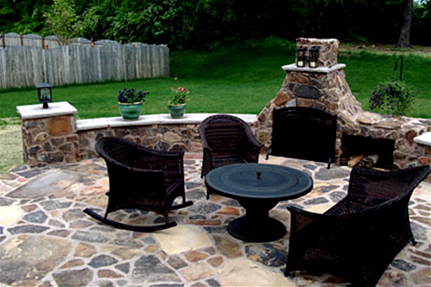 Stone Chimney, Seating Walls, Patio And Columns