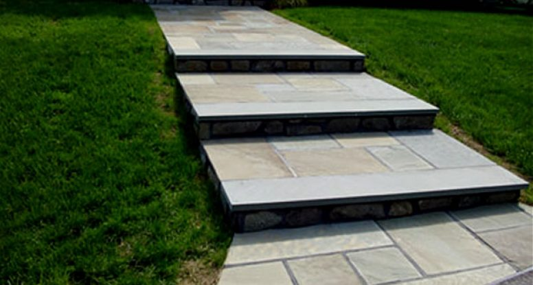 Flagstone walkway with mica stone steps