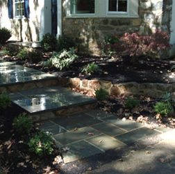 Blue stone walkway, valley forge stone wall and plant design