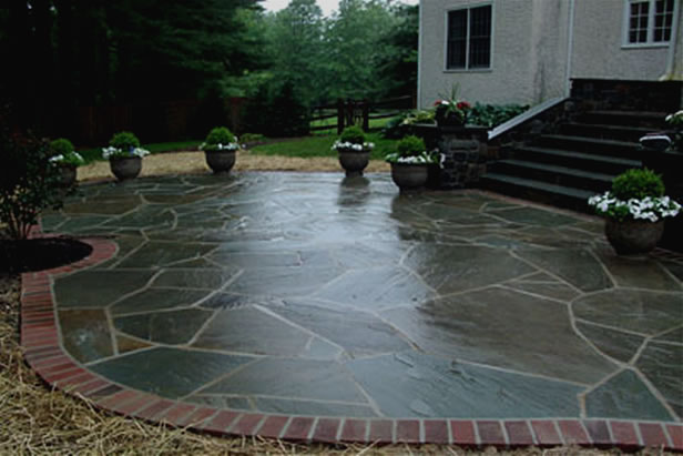 Flagstone In Cement Patio