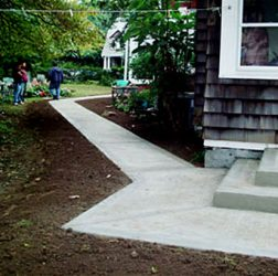 Concrete walkway and steps