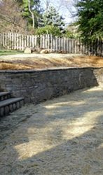 Hand-chiseled stone wall and steps