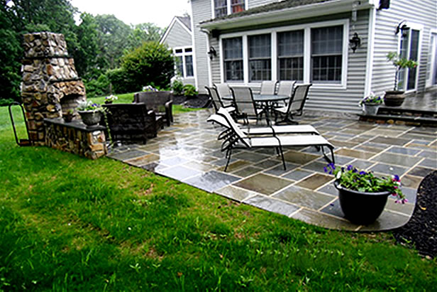 Flagstone Patio, Stone Seating Walls U0026 Outdoor Fire Place (2)