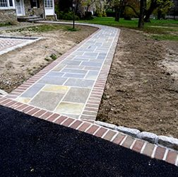 Flagstone and Brick Walk in Cement