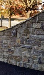 Stone wing wall and column