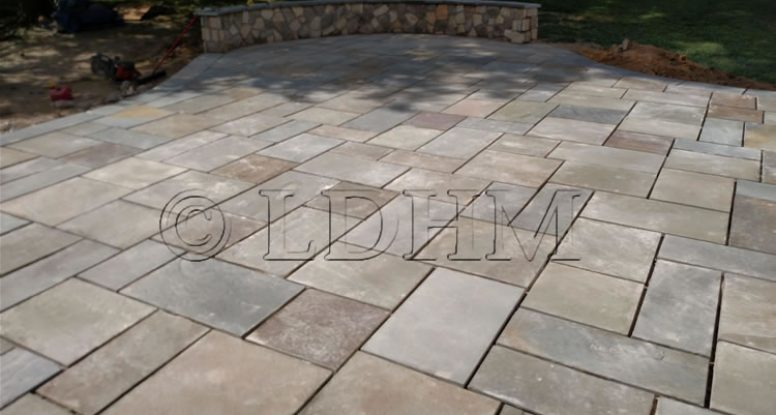 Flagstone patio and seating wall. Phoenixville, PA.