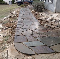 Irregular flagstone walk in cement. Westchester, PA.