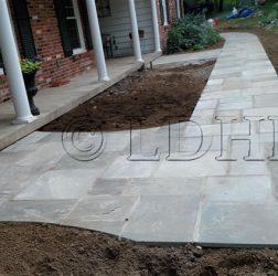 Flagstone walk in cement. Berwyn, PA.