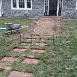 Before - Flagstone walk in concrete with steps and columns bordered on Belgian Block. Haverford, PA.