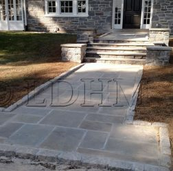 After. Flagstone walkway in concrete with steps and columns bordered on Belgian Block. Haverford, PA.
